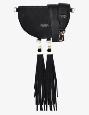 HALF MOON CLUTCH SET black FRINGE maxi
