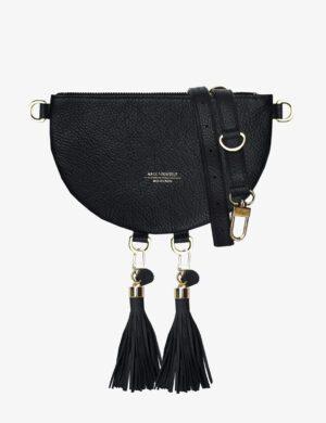 HALF MOON CLUTCH SET black FRINGE simple