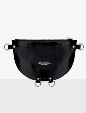 HALF MOON CLUTCH glossy black torebka