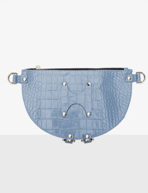 HALF MOON CLUTCH sky blue torebka personalizowana
