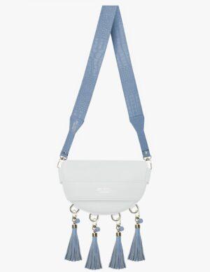 BABY LUNA SET white DŁUGI PASEK slim sky blue croco simple
